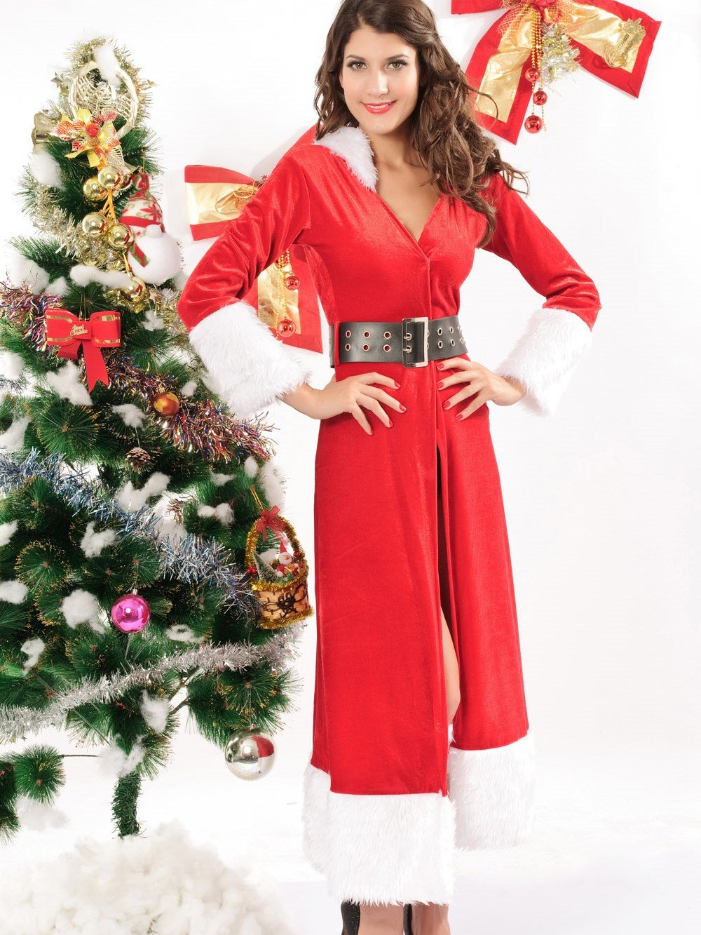 Charming Red Winter Fantasy Long Christmas Costume