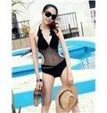 Sexy Black Hollow Freewire Swimwear Halter One-Piece Bikini