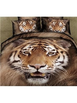 New Arrival Vivid Tiger Patterns 4 Piece Bedding Set