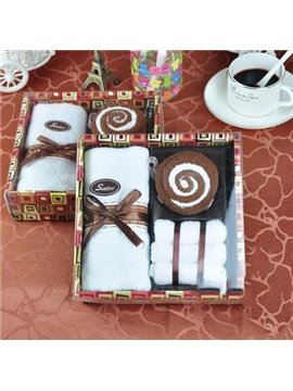 New Arrival Chocolate Color Cake Style Creative Gift Towels