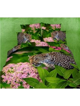 New Arrival 100% Cotton Green Color Leopard in the Jungle Print 4 Piece Bedding Sets