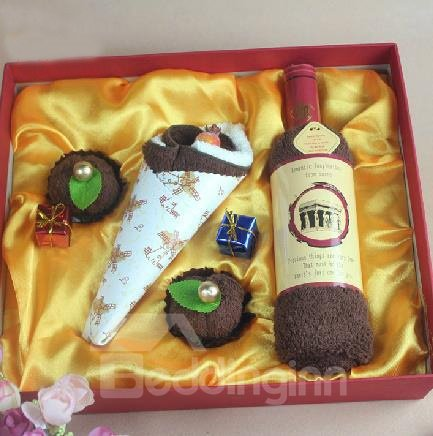 New Arrival Cake and Wine Set Style Creative Gift Towel Sets