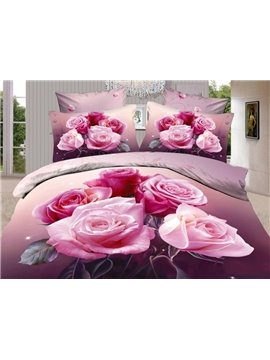 New Arrival High Quality Skin Care Peony Roses 4 Piece Bedding Sets