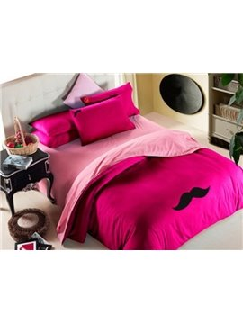 New Arrival Sanding Lovely Mustache and Red Lips Print 4 Piece Bedding Sets