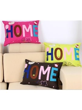 New Arrival Warm Color Home Letters Patterns Throw Pillow
