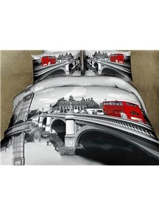 new arrial high quality gray color bridge scenery red bus print 4 piece bedding sets