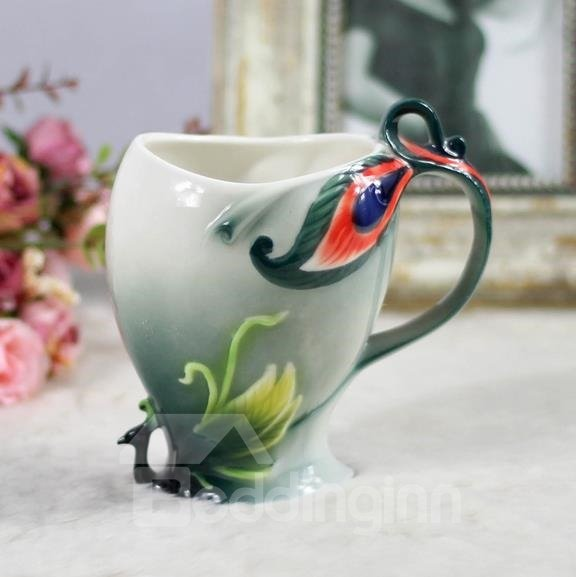 New Arrival Elegant Green Peacock Style Design Enamel Porcelain Coffee Cup