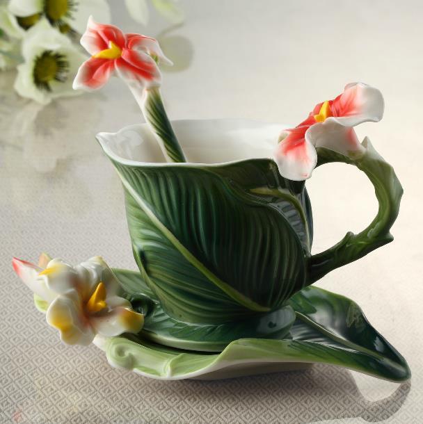 New Arrival Elegant Banana Leaf Style Enamel Porcelain Coffee Cup Sets beddinginn