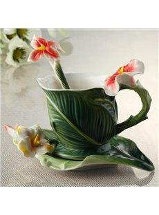 New Arrival Elegant Banana Leaf Style Enamel Porcelain Coffee Cup Sets