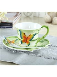 New Arrival Lovely Butterfly Style  Enamel Porcelain Coffee Cup Sets