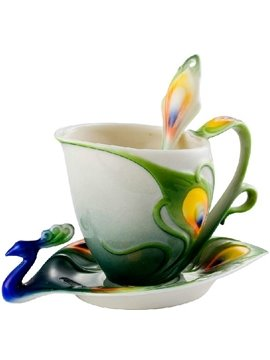 New Arrival Beautiful Peacock Design Green Color  Enamel Porcelain Coffee Cup Sets