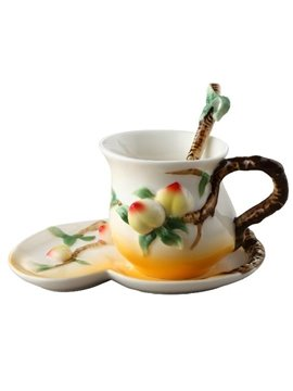 New Arrival Creative Lovely Peaches Design Enamel Porcelain Coffee Cup Sets
