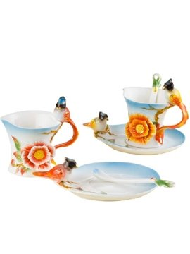 New Arrival Lovely Flower and Bird Design Enamel Porcelain Coffee Cup Sets
