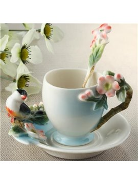New Arrival Creative Bird and Sakura Design Enamel Porcelain Coffee Cup Sets