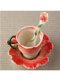New Arrival Creative Poppy Flower Design Red Color Exquisite Enamel Porcelain Coffee Cup Sets