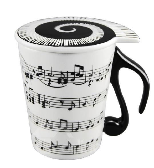 New Arrival Creative Musical Notation and Piano Keys Design Coffee Cup with Lid