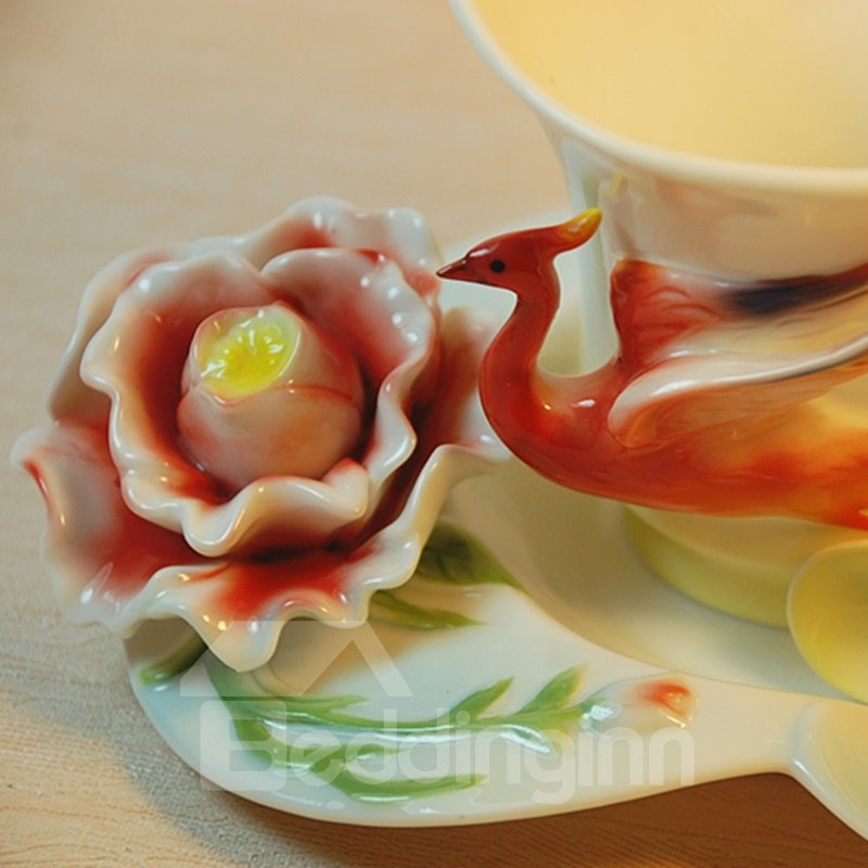 New Arrival Beautiful Glided Phoenix and Flower Design  White Color Exquisite Enamel Porcelain Coffee Cup Sets
