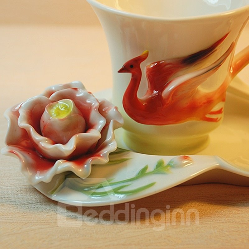 New Arrival Beautiful Glided Phoenix and Flower Design White Color Exquisite Enamel Porcelain Coffee Cup Sets 10833715