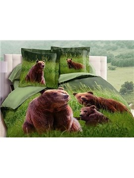 New Arrival High Quality Bears Playing in the Grass Realistic 3D Printed 4 Piece Bedding Sets