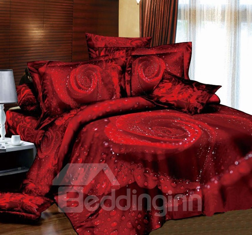 High Quality Luxury Classic Rose Realistic 3D Printed 4 Piece Bedding Sets