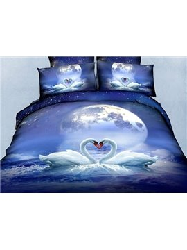 New Arrival Romantic Beautiful Couple Swan Realistic 3D Printed 4 Piece Bedding Sets