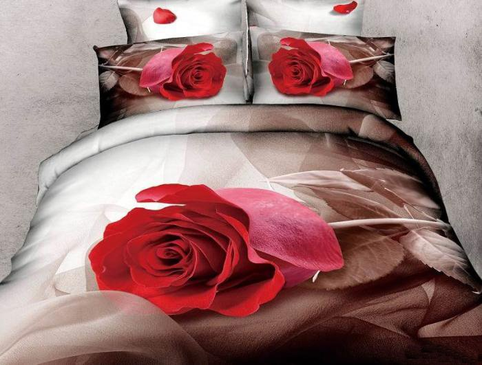 New Arrival 100% Cotton Elegant Single Rose 3D Printed 4 Piece Bedding Sets