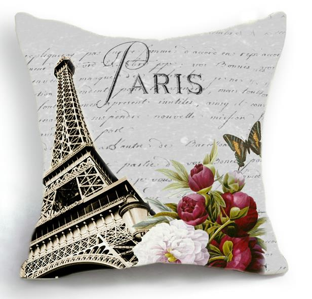 New Arrival Beautiful Paris Eiffel Tower and Flowers Print Throw Pillow