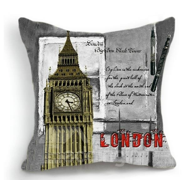 New Arrival Amazing English Big Ben Clock Tower 3D Print Throw Pillow