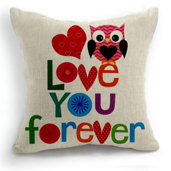 New Arrival Cute Love You Forever Letters Print Throw Pillow