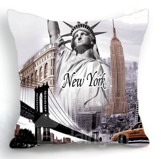 New Arrival New York Famous Scenic Spots Print Throw Pillow