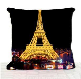 New Arrival Beautiful Paris Eiffel Tower at Night 3D Print Throw Pillow