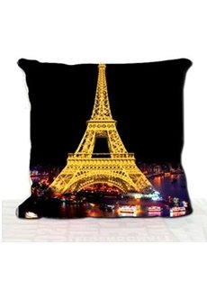 New Arrival Beautiful Paris Eiffel Tower at Night 3D Print Throw Pillow