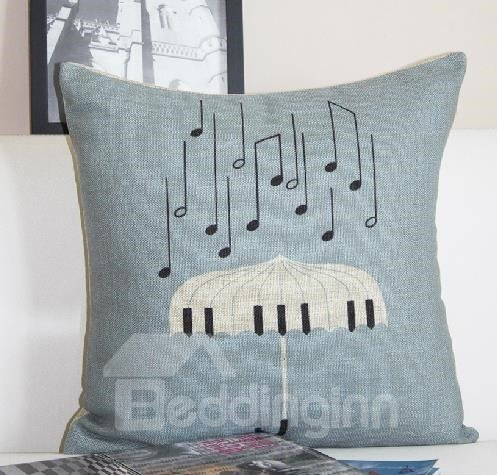 New Arrival European Style Piano Key Umberlla and Musical Notes Print Throw Pillow