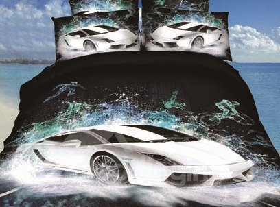 New Arrival High Quality Amazing Cool Cars Print 4 Piece Bedding Sets