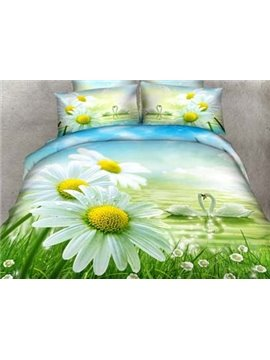 New Arrival 100% Cotton Beautiful Daisy and Swans Print 4 Piece Bedding Sets