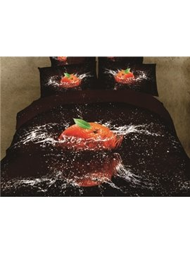 New Arrival 100% Cotton Beautiful Orange in Water Print 4 Piece Bedding Sets