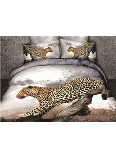New Arrival 100% Cotton Vivid Cheetah on the Tree Print 4 Piece Bedding Sets