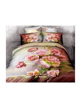 New Arrival 100% Cotton Beautiful Pink Color Roses Print 4 Piece Bedding Sets