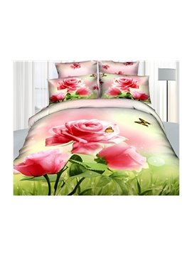 New Arrival High Quality Beautiful Pink Roses and Butterfly Print 4 Piece Bedding Sets