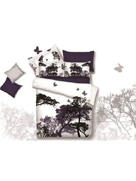 New Arrival 100% Cotton Elegant Purple Tree and Butterfly Print 4 Piece Bedding Sets