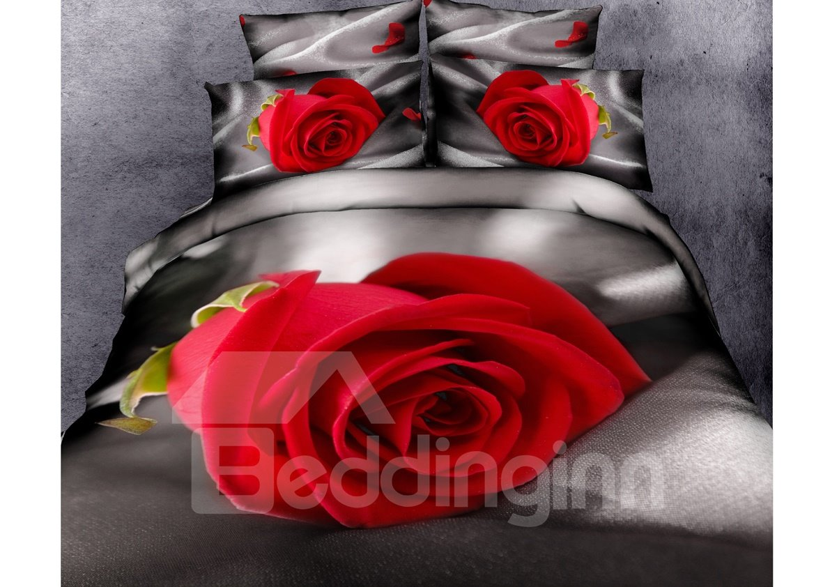 New Arrival High Quality Elegant Red Rose Print 4 Piece Bedding Sets