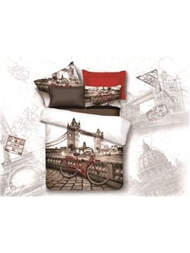 New Arrival High Quality Colorful London Tower Bridge and Bicycle Print 4 Piece Bedding Sets