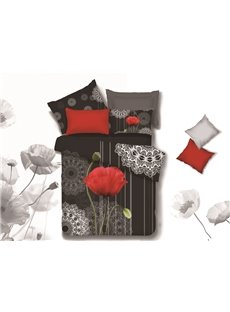 New Arrival High Quality Elegant Red Flower and Two Buds Print 4 Piece Bedding Sets