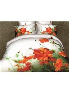New Arrival High Quality Elegant Orange Color Flowers Print 4 Piece Bedding Sets