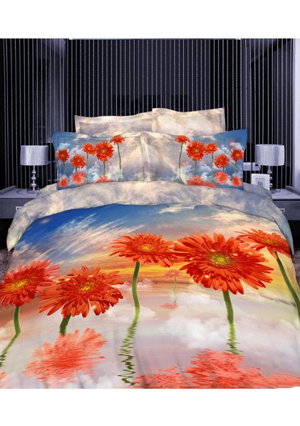 100% Cotton Orange Coreopsis 3D Printed 4-Piece Duvet Cover Sets