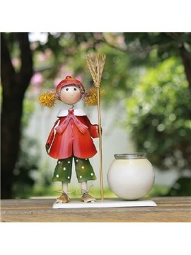 New Arrival Lovely Girl Holding a Besom Design Iron-made Candle Holder