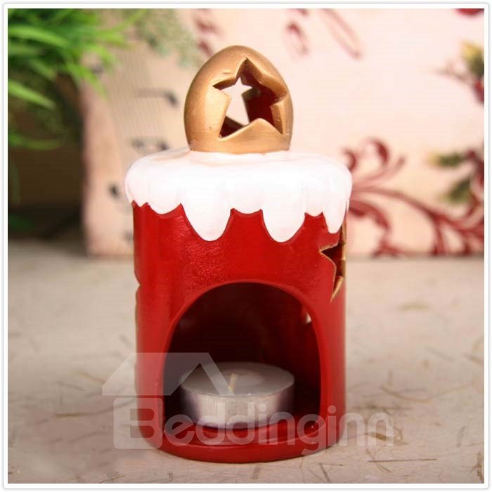 New Arrival Lovely Santa Holding Christmas Tree Design Candle Holder