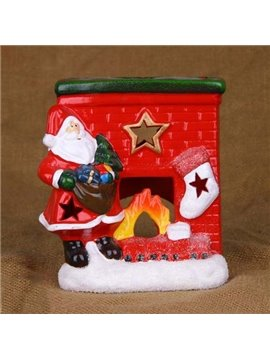 New Arrival Lovely Santa Claus Standing by a Fireplace Hollowed Candle Holder