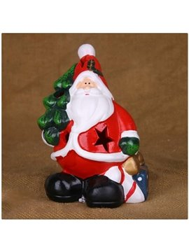 Sweet Santa Claus Holding Gifts and Christmas Tree Hollowed Candle Holder