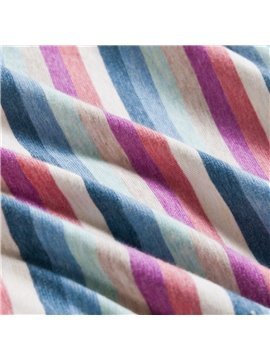 New Arrival Elegant Colorful Stripes Print Kintting Cotton Bedding Sets with Fitted Sheet